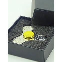 Christmas Concepts® - Metal Tri Round Hand Fidget Spinner - Réducteur de stress, Soulagement de stress, Autisme - Design Argent et Or