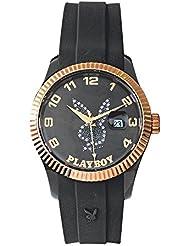 Playboy EVEN42GB - Reloj de pulsera unisex, color negro