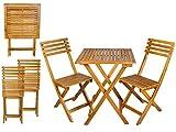 MALATEC Holz Balkonset 3tlg Tisch 2 Stühle Klappbar Balkon Sitzgruppe Bistroset #5099