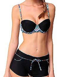 Maillot de Bain Femme 2 pièces Bikini Shorty Armatures Noir et Multicolore