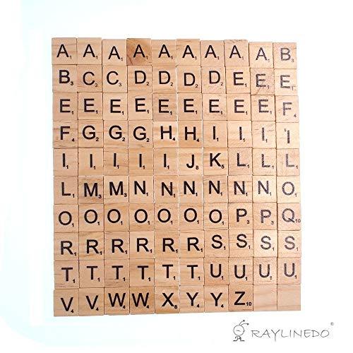 RayLineDo 200 stücke Holz Scrabble Fliesen Buchstaben Alphabet Scrabbles Anzahl Handwerk Englisch Wörter behoben