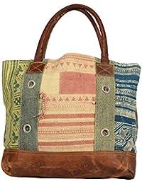 Priti Vintage Design Handbag Tote Bag Travel Bag In Washed Canvas Leather - B0791FFLJN