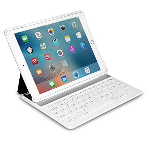 Inateck iPad Air 2,iPad Pro 9.7 Inch Keyboard Cover with Intelligent Switch and Multi-Angle Stand ,White Test