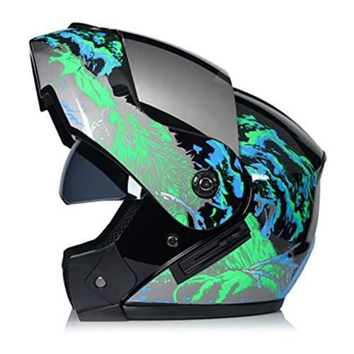 Adult Motorradhelm,ECE-geprüft-Genehmigt Integralhelm Fullface Klapphelm Motorrad Roller Sturz Helm,Bequem und Atmungsaktiv Endurohelm Crosshelm mit Sonnenblende für Quad Downhill Helm,Green2,XL