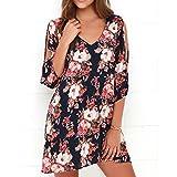 AMUSTER Damen Maxikleider Sommerkleider Vintage Boho Blumen Kleid V Ausschnitt Printkleider Partykleider Strandkleider Minikleid Große Größe