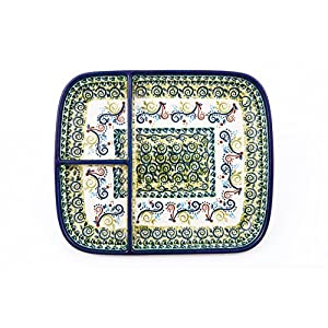 Hand-Decorated Polish Pottery Snack Plate with 3 Compartments, 25.0×21.0 cm Height 3 cm, Dekor DU163
