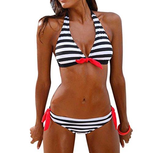 Xinan Badeanzug Damen Bikini Set Streifen Bademode (XL, Schwarz) (Set Bikini Chiffon)