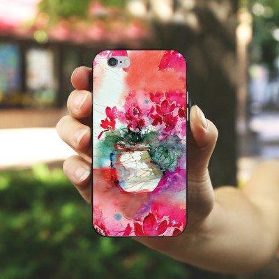 Apple iPhone X Silikon Hülle Case Schutzhülle Gemälde Rosen Blumen Silikon Case schwarz / weiß