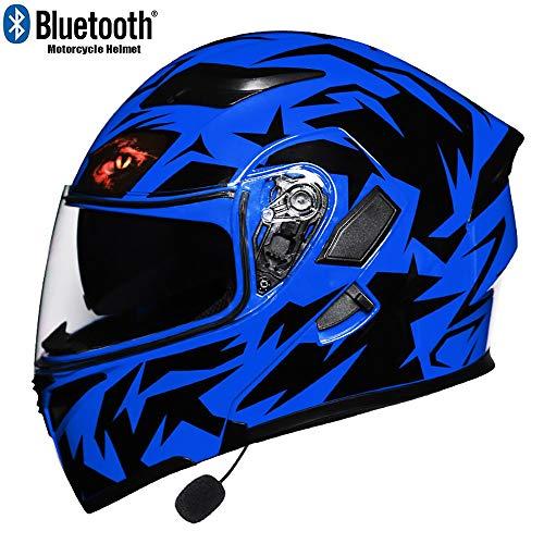 TKTTBD Bluetooth Casco Modular Moto con Luce di LED Sicurezza,Adulto Casco Moto Cross off-Road con Anti-Fog Doppia Visiera,Casco Integrale Moto con Microfono Mincorporato,ECE Omologato