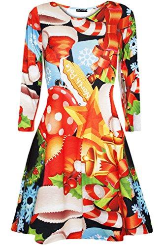 Fashion Star Ladies Womens Tree Snow Elvis Candy Gingerbread Long Sleeves Xmas Mini Dress
