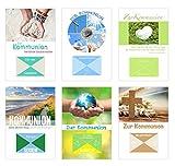 Edition Seidel Set 6 Premium Kommunionskarten Geldkarten mit Umschlag (Doppelkarten mit Briefumschlag) Karten Kommunion Geldgeschenk