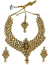 My Design Adorable Gold Plated Wedding Necklace Set With Maang Tika