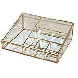 Kosmetik Hautpflege Speicher Box Desktop-Speicher Box Glas Kupfer-Farbe Retro-Lippenstift-Sitz Große Transparente 26.3X19.5X9.3CM