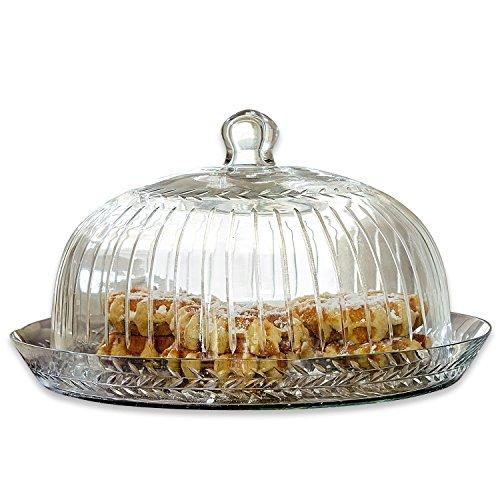 Loberon Cloche en verre avec plateau Layla - verre - H/D env. 21/30 cm - transparent