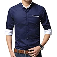 XTAPAN Men's Long Sleeve Casual Slim Fit Inner Contrast Button Down Dress Shirt Dark Blue 2XL 1306