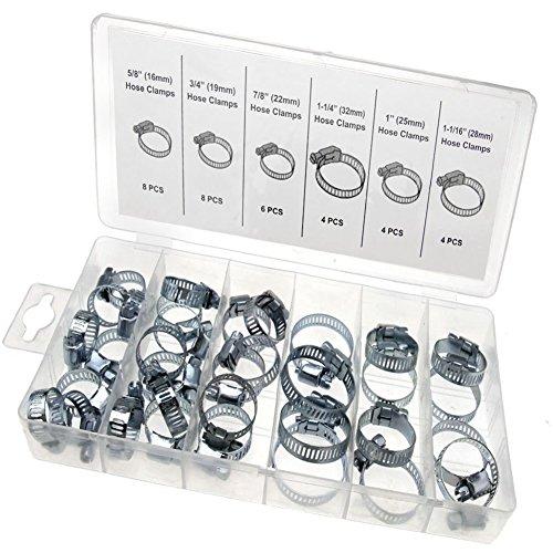 34pezzi di metallo assortiti fascette driver clip con scatola di plastica