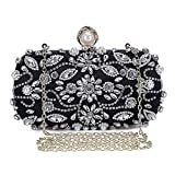 Borsa da donna di lusso Pochette Donna borsetta Glitter Diamond Hard Shell Clutch frizioni per matrimonio/festa/ballo, borse strass fatti a mano con catenella-Nero