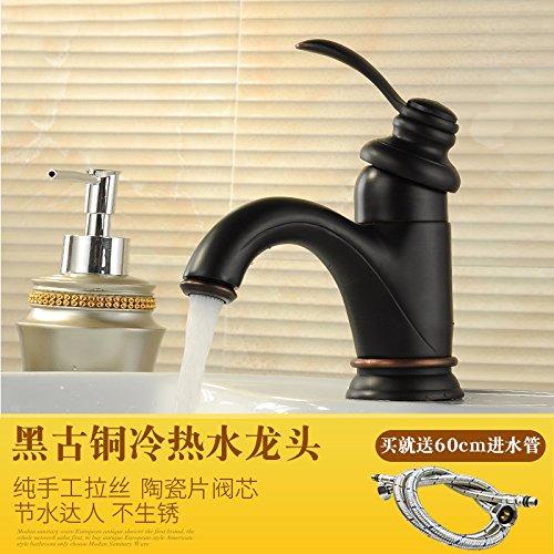 Preisvergleich Produktbild PENGFEI Bronze eloxiert Schwarz Antik Wasserhahn warmes/kaltes Wasser Waschbecken Armaturen, Waschbecken Schwarz Bronze