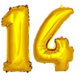 DekoRex® Folienballon Zahlenballon Luftballon Geburtstag Deko 80cm Zahl Gold 14