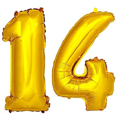 DekoRex número Globo decoración cumpleaños Brillante para Aire en Oro 40cm de Alto No. 14