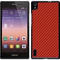 PhoneNatic Case für Huawei Ascend P7 Hülle rot Carbonoptik Hard-case + 2 Schutzfolien