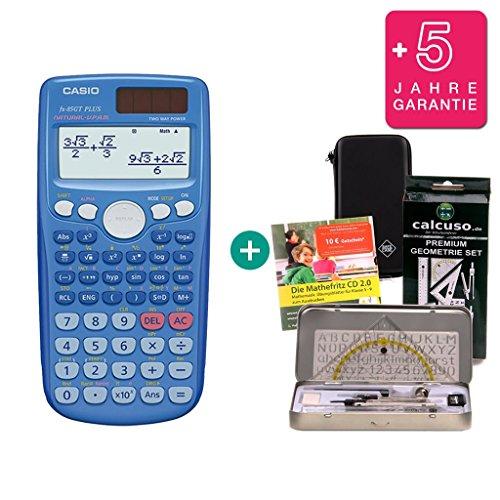 Streberpaket: Casio FX 85 GT Plus Blau + Schutztasche + Lern-CD (auf Deutsch) + Geometrie-Set + Erweiterte Garantie
