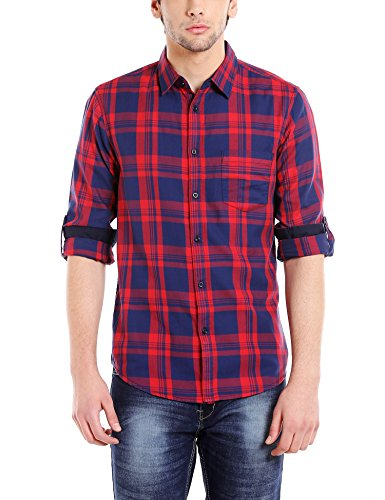 Dennis Lingo Men's Checkered Slim Fit Casual Shirt (C403_RED_M_Red_M)
