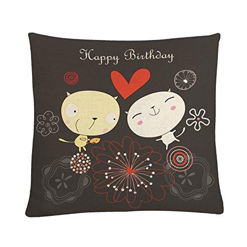 MAYUAN520 Zierkissen 45 * 45 cm Kissenbezug Kawaii Tiere Happy Birthday Buchstaben Gedruckt Kopfkissenbezug Dekorative Kissen Abdeckungen Für Schlafsofa Autositze