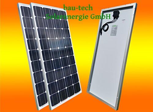 bau-tech Solarenergie 2 Stück 130W Monokristallines Solarpanel 12V Solarmodul Solarzelle 130Watt für Camping, Caravan, Garten GmbH 130w Solarpanel