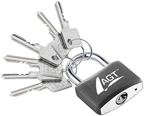 AGT Vorhängeschlösser: Vorhänge-Schloss aus Aluminium, Messing & Stahl, 43 mm, 6 Schlüssel (Outdoor-Schloss)