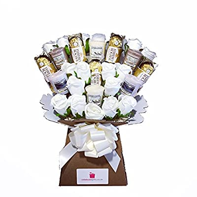 Yankee Collection Scented Candle, Silk Ivory Roses & Ferrero Rocher Chocolate Bouquet Gift Set by Celebrate Gifts Ltd