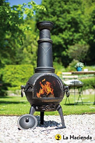 La Hacienda (free cover) 112cm 100% Cast Iron Chiminea + BBQ Grill