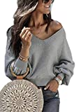 Angashion Pullover Top Women's Langarm Lose Bluse V Neck Oversize Sweatshirt Oberteil Tops Grau M