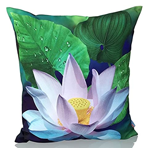 Sunburst Outdoor Living 45cm x 45cm LOTUS FLOWER Decorative Throw Pillow Cushion Cover for Couch, Bed, Sofa or Patio - Only Case, No Insert