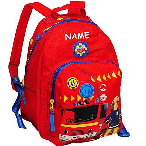 alles-meine.de GmbH 3D Effekt _ Kinder Rucksack - Feuerwehr & Feuerwehrmann Sam - inkl. Name - Tasche - beschichtet & wasserfest - Kinderrucksack / groß Kind - Jungen - z.B. für ..