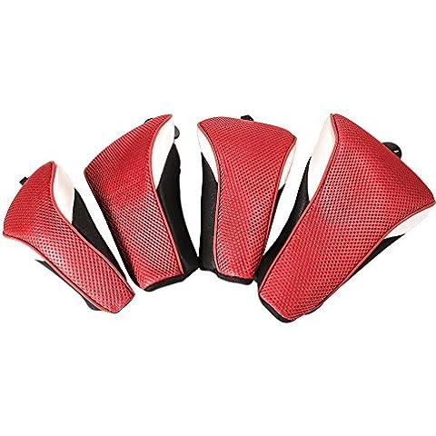 XCSOURCE 4pcs Golf Club di legno Lama Sacca copertura della testa sintetico Mesh Interchange protezione Boot Putter Set Red OS732