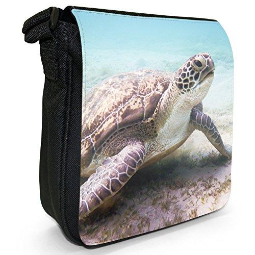 Mare di acqua dolce, motivo tartarughe che nuotano Borsa a spalla piccola di tela, colore: nero, taglia: S Nero (Sea Turtle Resting On Sea Bed)