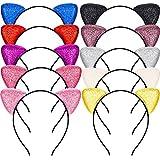 10 Stück Glitter Katzenohren Stirnbänder Sparkly Stirnbänder Katze Haarbänder Bling Stirnband für Party Geburtstag Festival Deko