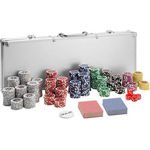 TecTake 402559 Pokerkoffer Pokerset mit Laser Pokerchips im Alu Koffer, 500 Chips, inkl. 2 Kartendecks + 5 Würfel + 1 Dealer Button, Silber