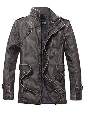 MatchLife Herren Lederjacke Zipper Bike Velvet Jacke Style7-Grau