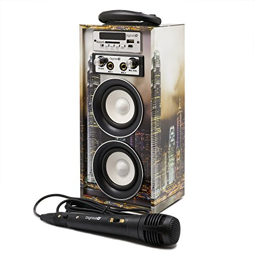 Karaoke DigiVolt HIFI-16 by MovilCom, Bluetooth-Lautsprecher, MP3-Player, USB-Media-Player, Mikrofon, FM-Radio, AUX-Eingang Fernbedienung Hongkong