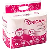 Origami So.Soft - 3 Ply Toilet Paper | Tissue Roll - 12 in 1-12 Rolls - 160 pulls per roll - Total 1920 pulls