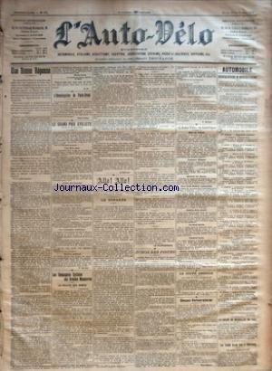AUTO VELO (L') [No 331] du 10/09/1901 - UNE BONNE REPONSE PAR H. D. - L'HOMOLOGATION DE PARIS-BREST - SAINT-VALLIER - LE GRAND PRIX CYCLISTE - UNE FIERE PEUR - L'ETAT DES TRAVAUX - LE SERVICE D'ORDRE - LES MUSIQUES MILITAIRES - SERVICE MEDICAL PAR F. MERCIER - LES COMPAGNIES CYCLISTES AUX GRANDES MANOEUVRES - LA VEILLEE DES ARMES - LE SUIVEUR - ALLO ! ALLO ! - LE CONGRES PAR H. DESGRANGE - LE TELEPHONISTE - ECHOS DES PISTES PAR F. MERCIER - L'AUTO-VELO EN AMERIQU