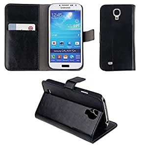 PU Leather Stand Case Cover with Car Slots Pouch for Samsung Galaxy S4 SIV i9500 Black