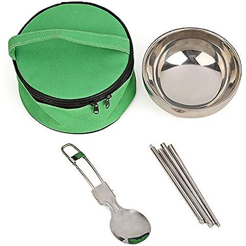 EQLEF® Portable di corsa dell'acciaio inossidabile Spoon Bacchette cinesi Set da tavola con Pull Catena Caso colore casuale