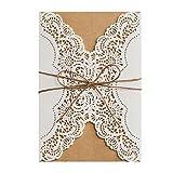 50X Wishmade Einladungskarten Für Hochzeit Geburtstag Taufe Party Graduation Elfenbein Blumen Lasercut Mit Schleife Kraftpapier Blanko Set 50 Stücke inkl Umschläge PK14113