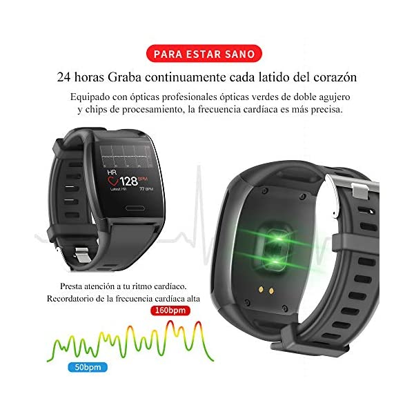HalfSun Impermeable IP67 Smartwatch, HD Color Screen,Pulsera Inteligente con Pulsómetro, Monitor de Presión Arterial,Monitor de Calorías, Sueño, Podómetro,Pulsera Actividad para Android y iOS 5
