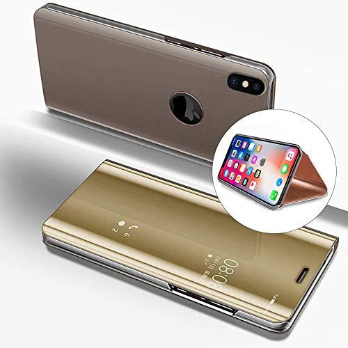 LCHDA iPhone XS Max Spiegel Ledertasche klapphülle Gold Brieftasche Schutzhülle Handyhülle Durchsichtig Clear View Flip Mirror Case Stoßdämpfend Standfunktion Magnetverschluß Handytasche 6.5 Zoll 2018