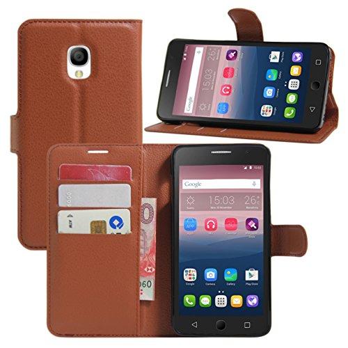 HualuBro Alcatel OneTouch Pop Star Hülle, Premium PU Leder Leather Wallet HandyHülle Tasche Schutzhülle Flip Case Cover für Alcatel One Touch Pop Star 3G 5022D (Braun)