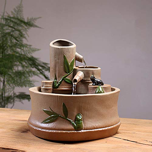 Fuente de Agua Interior - Tubo de bambú Adornos de Feng Shui - Decoración eléctrica de Escritorio con Fuente de Agua - Ideal para cumpleaños/Aniversario/Regalo de Boda,A